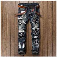 Men Badge Patchwork Jeans Ripped Biker Hole Denim Patch Jeans For Men Embroidery Straight Slim Jeans