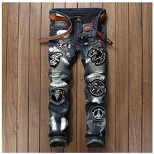 Men Badge Patchwork Jeans Ripped Biker Hole Denim Patch Jeans for Men Embroidery Straight Slim Jeans Pants Night Club Trousers