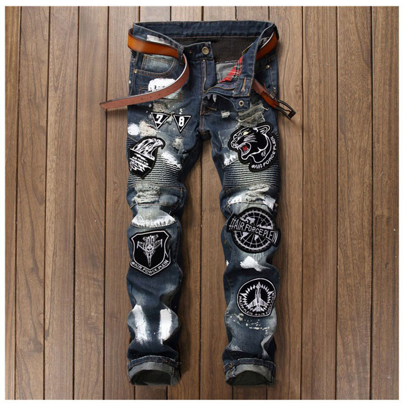 Men Badge Patchwork Jeans Ripped Biker Hole Denim Patch Jeans for Men Embroidery Straight Slim Jeans Pants Night Club Trousers 2017 fashion patch jeans men slim straight denim jeans ripped trousers new famous brand biker jeans logo mens zipper jeans 604