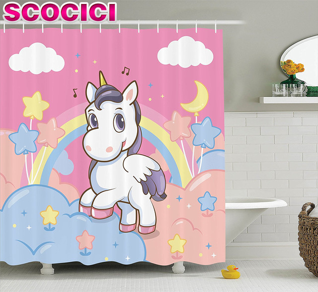 Girls Shower Curtain Set Kids Decor Unicorn With Rainbow Music Notes Clouds  In The Sky Decorative
