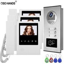 """Intercomunicador de vídeo com tela de 4.3 """", atualizado, sistema de acesso rfid, câmera para campainha e porta, 3 monitores para multi apartamentos/famílias"""