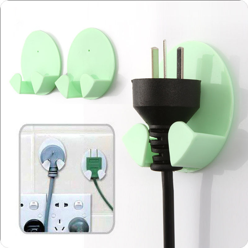 Carrywon 2Pcs Practical Self-AdheSive Power Plug Socket Holder Sticky Hooks Home Hotel Wall Hanger Storage Tools Wall Hook