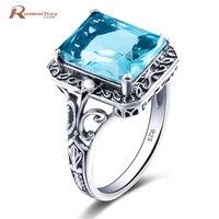 التركية المجوهرات 925 فضة خواتم الزفاف الأنيق اليدوية الأزرق ريترو هدايا الزفاف بيان الأزياء والمجوهرات عيد