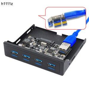 "Image 1 - PCI E USB 3.0 PC Ön Panel USB Genişleme Kartı PCIE USB Adaptörü 3.5 ""Disket USB3.0 Ön Panel Braketi PCI Express x1 Yükseltici"