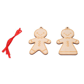 2PCS Christmas Hanging Ornaments Gingerbread Man Wooden Decoration Cute beauty of joseon dynasty cream