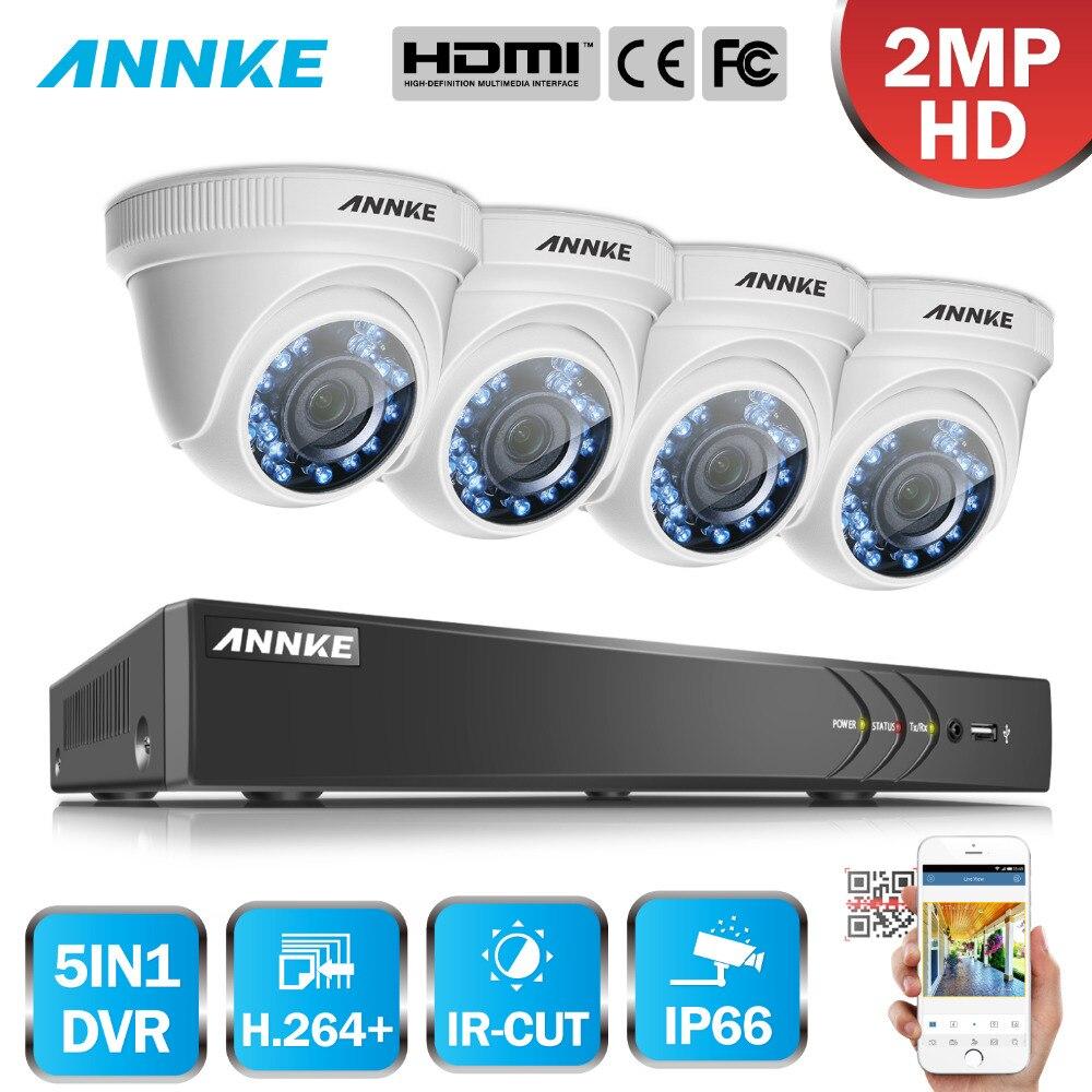 ANNKE 4CH Security Camera System HD 3MP 5in1 H.264+ DVR 4PCS 2MP 1080P HD Outdoor Indoor Weatherproof Dome Camera Auto IR Cut цена в Москве и Питере