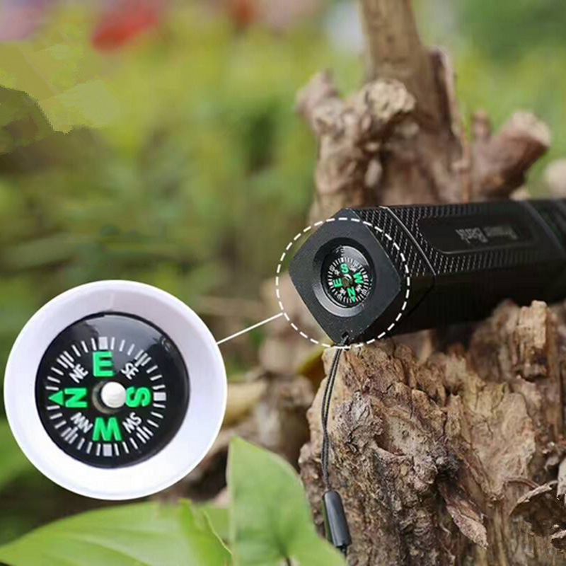 Multifunction flashlight with Power bank and Compass Portable 18650 torch light rechargeable built in Battery for camping