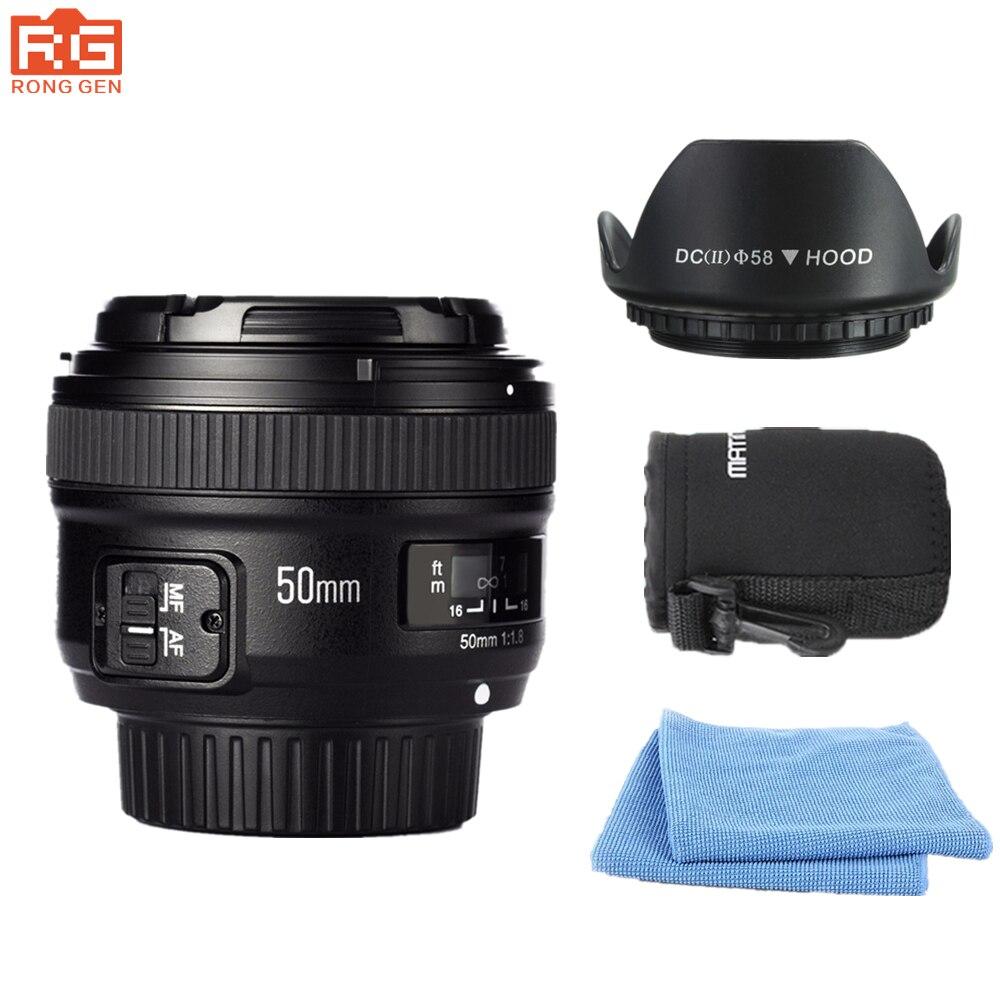Yongnuo yn 50mm f/1.8 lente AF YN50mm Apertura de enfoque automático gran apertura para Nikon DSLR Cámara como AF-S 50mm 1.8G lente libre bolsa