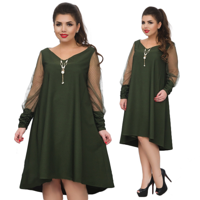 Big size 6XL 2018 Spring Summer Women Dress Loose solid mesh patchwork  dresses plus size Fat MM women clothing 6xl dress 3136241a845c