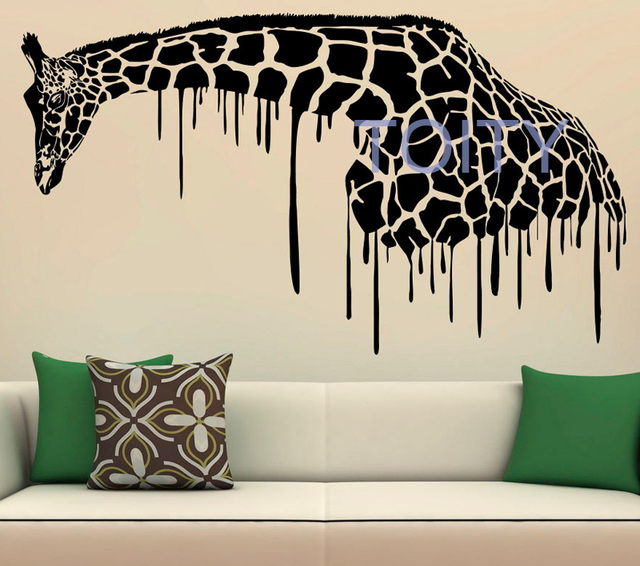 Elegant Giraffe Wall Decal Boy Bedroom Vinyl Sticker African Animal Safari Home  Room Art Mural Decor Removable