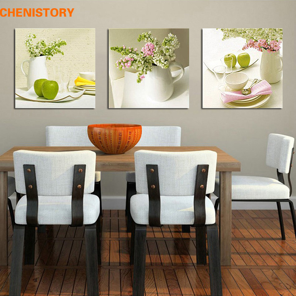 Aliexpresscom buy unframed 3pcs fruit and floral wall for Best brand of paint for kitchen cabinets with framed wall art sale