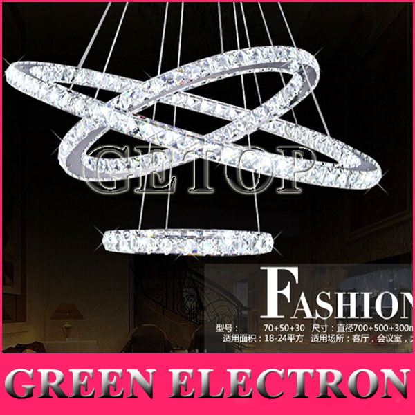 Free Style Modern Minimalist Three Rings LED K9 Crystal Chandelier Creative Circle Crystal Lamp for Living Room Bedroom Lighting minimalist style chandelier choice of color french gold and chrome crystal lamp crystal chandelier golden color is ready made