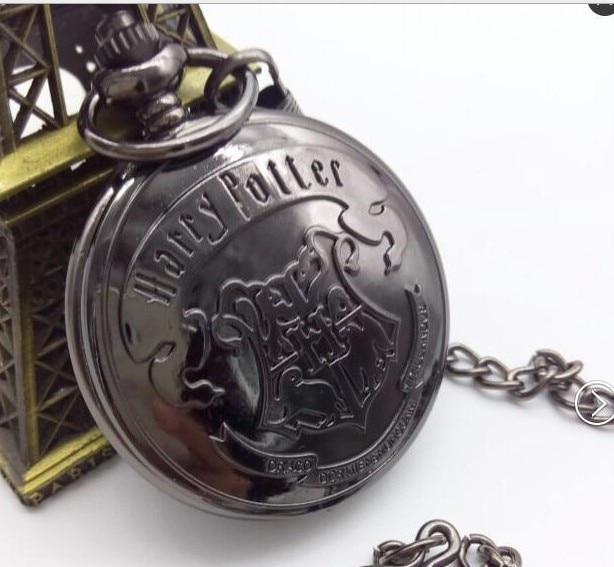 Harri Potter Sweater Necklace Hogwarts Slytherin Ravenclaw Clock Retro Snitch Quidditch The Deathly Hallows Quartz Pocket Watch