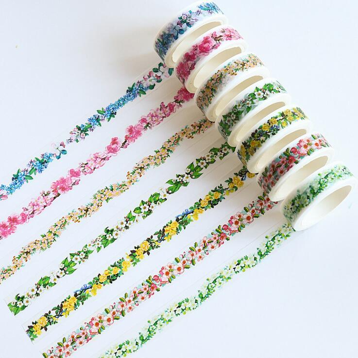 1.5cm*7m Fresh Romantic Garland Decorative Washi Tape DIY Scrapbooking Masking Craft Tape School Office Supply