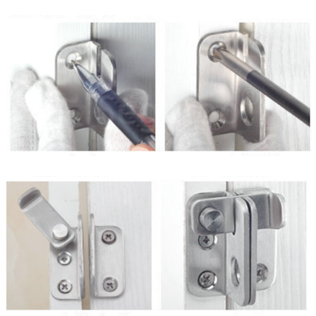 Slide Bolt Latch Gate Latches Safety Door Lock 40x45mm Stainless Steel Brushed Finish with Padlock Hole free shipping door bolt house ornamentation door hardware locks stainless steel padlock latch thickened door latches