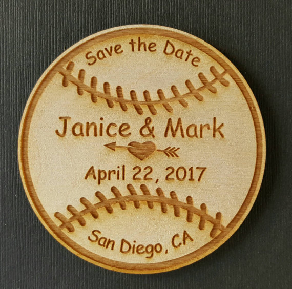 personalized baseball bride groom names wooden wedding save the date