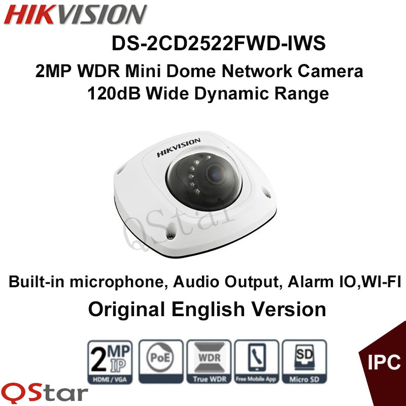 Hikvision Original English Version DS-2CD2522FWD-IWS 2MP 120db WDR Mini Dome Network Camera Support H.264+,PoE,Audio,Wifi,IR 10m free shipping in stock new arrival english version ds 2cd2142fwd iws 4mp wdr fixed dome with wifi network camera