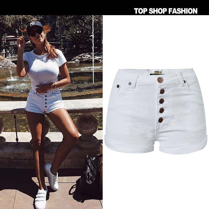 Whtie   Shorts   High Waist Quality Beach Denim Jeans Hotpants For Summer Hot Women 2018 Clothes Bermuda Home Clothes