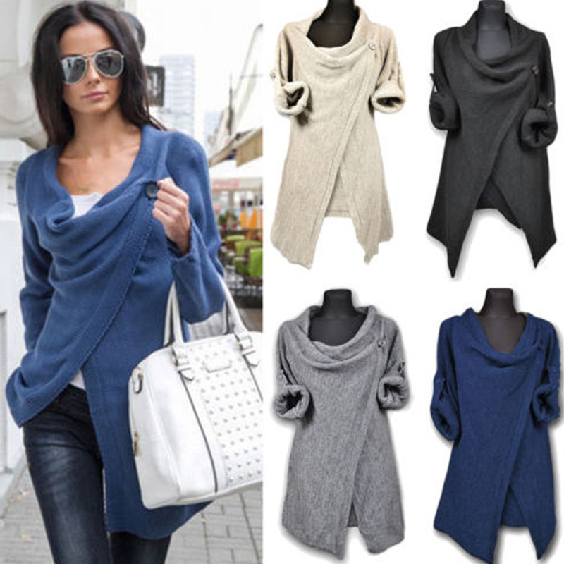 New hot selling through the explosion of Europe and the United States knitted leisure jacket irregular fashion Slim coat