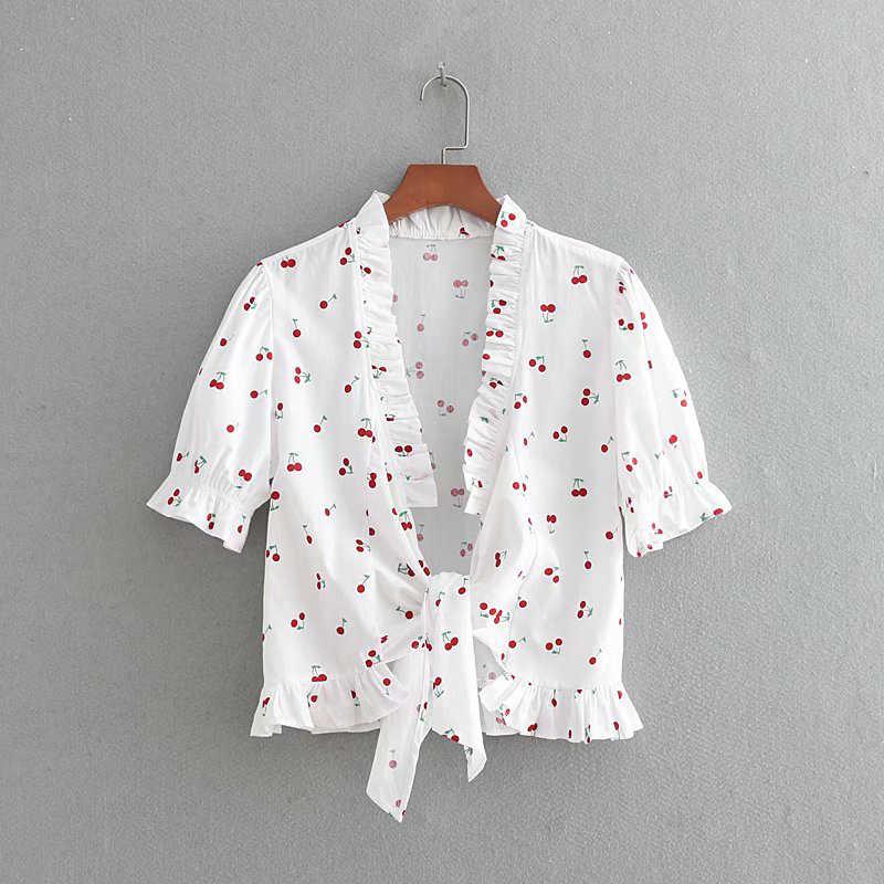 עמוק Ruched V-צוואר דובדבן מודפס קצר שרוול למעלה חולצה מול קשת תחרה למעלה קצר שרוול יבול קיץ מתוק למעלה חולצה