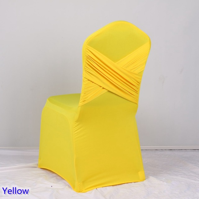 yellow spandex chair sashes big saucer colour cross back swag lycra cover ruffled stretch banquet wedding hotel party decoration