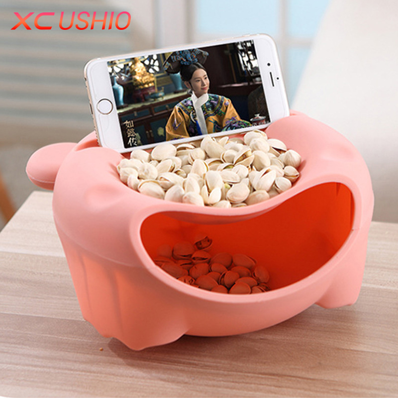 New Creative Bear Style Snack Storage Box Double Layer Thickened Plastic Desktop Food Container Multifunctional Organizer