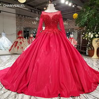 LS92450 Red Shiny A Line Evening Dress Long Sleeve O Neck Lace Up Tulle Back Formal