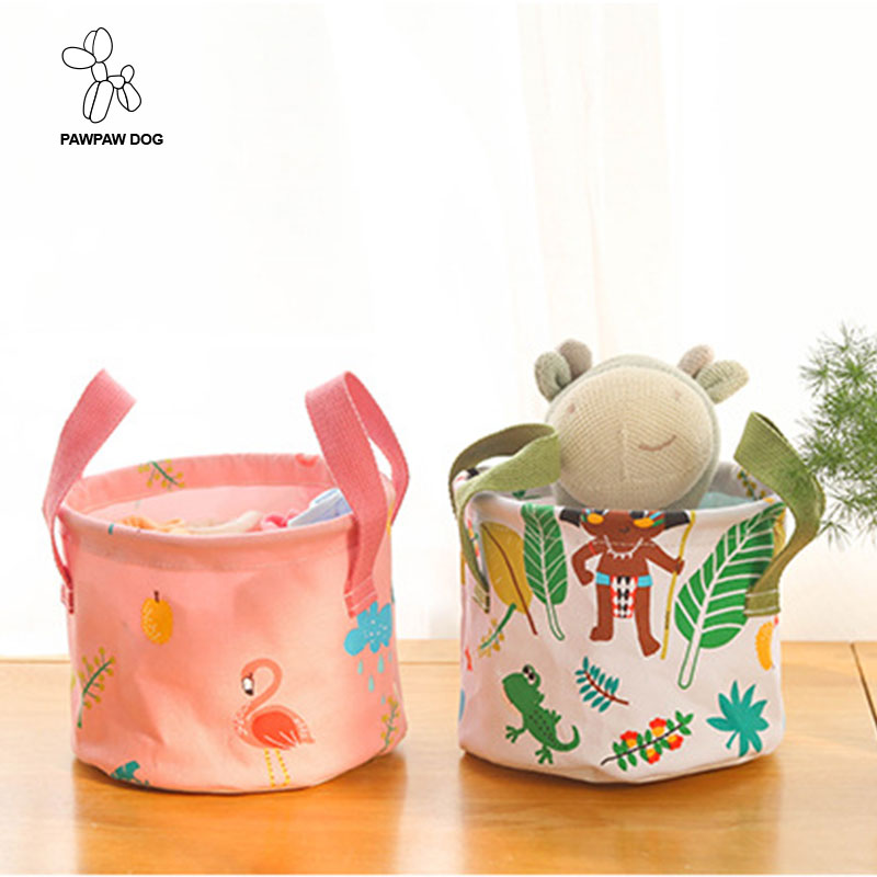 Portable Storage Basket Desktop Sundries Storage Box Fabric Cotton Linen Underwear Clothing Organizer Makeup Tools Storage Bags