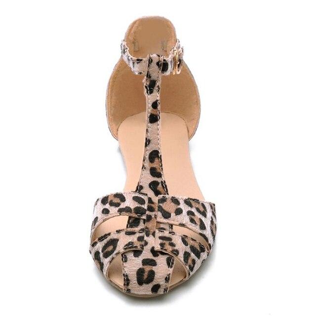 Leopard Print Flat Heel Women's Sandals 2019 Summer Women Summer Shoes 2019 Summer Shoes Fashion Sandals Sweet Free Shipping