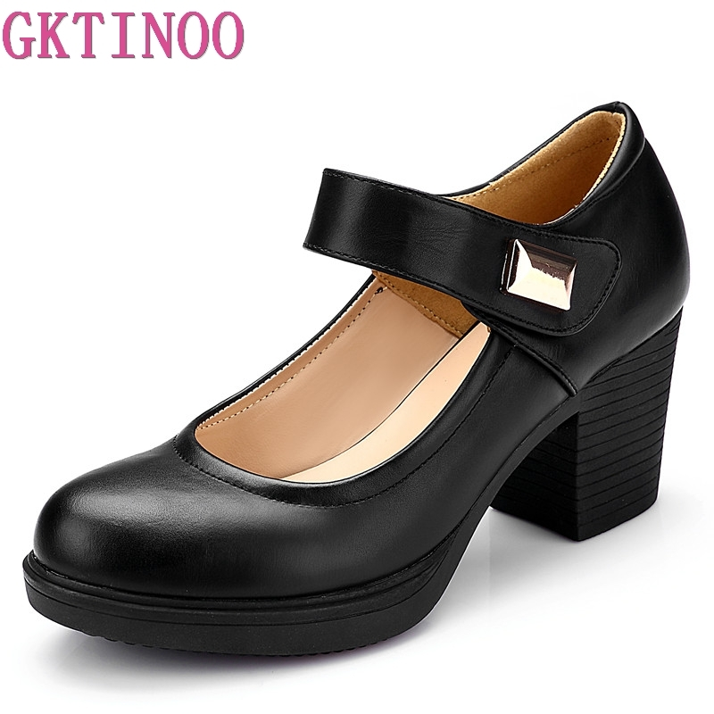 GKTINOO Brand Shoes Woman High Heels 2019 New Spring Autumn Elegant Comfortable Leather Shoes Women Shoes Black White