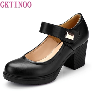 GKTINOO Brand Shoes Woman High Heels 2020 New Spring Autumn Elegant Comfortable Leather Shoes Women Shoes Black White new arrival spring autumn plus size 11 12 fashion elegant mature womens shoes cross tied rough with low heels single shoes