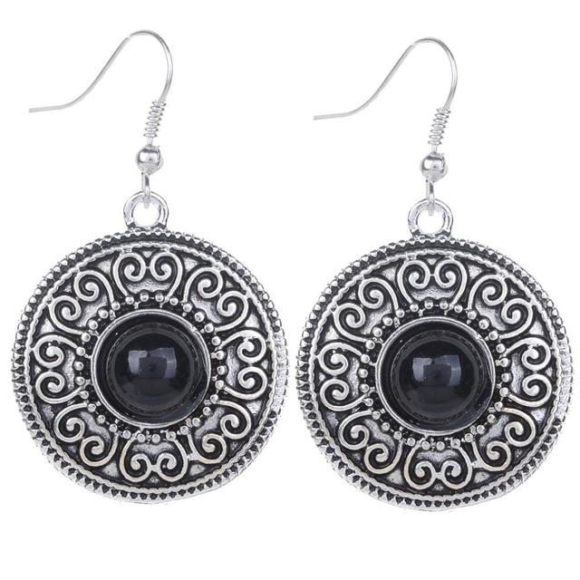 b61842a794 Fashion Water drop Carved Black Stone Inlay Tibetan Silver Hook Earring  Women Jewelry For Women-in Drop Earrings from Jewelry & Accessories on ...