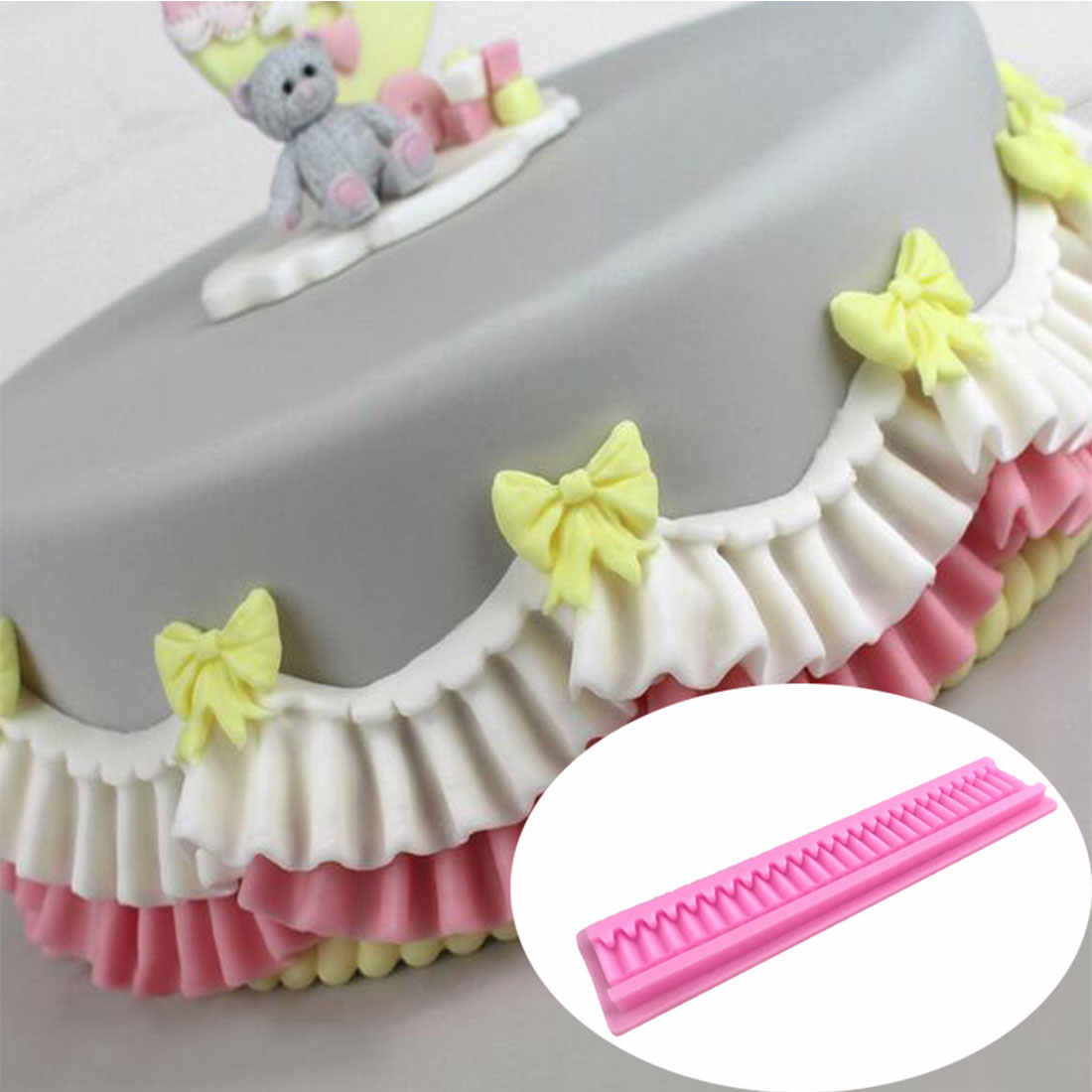 Practical Cake Folded Lace Border Decoration Mold Cake Side Decorating Stencils Fondant Cake Decorating Tools