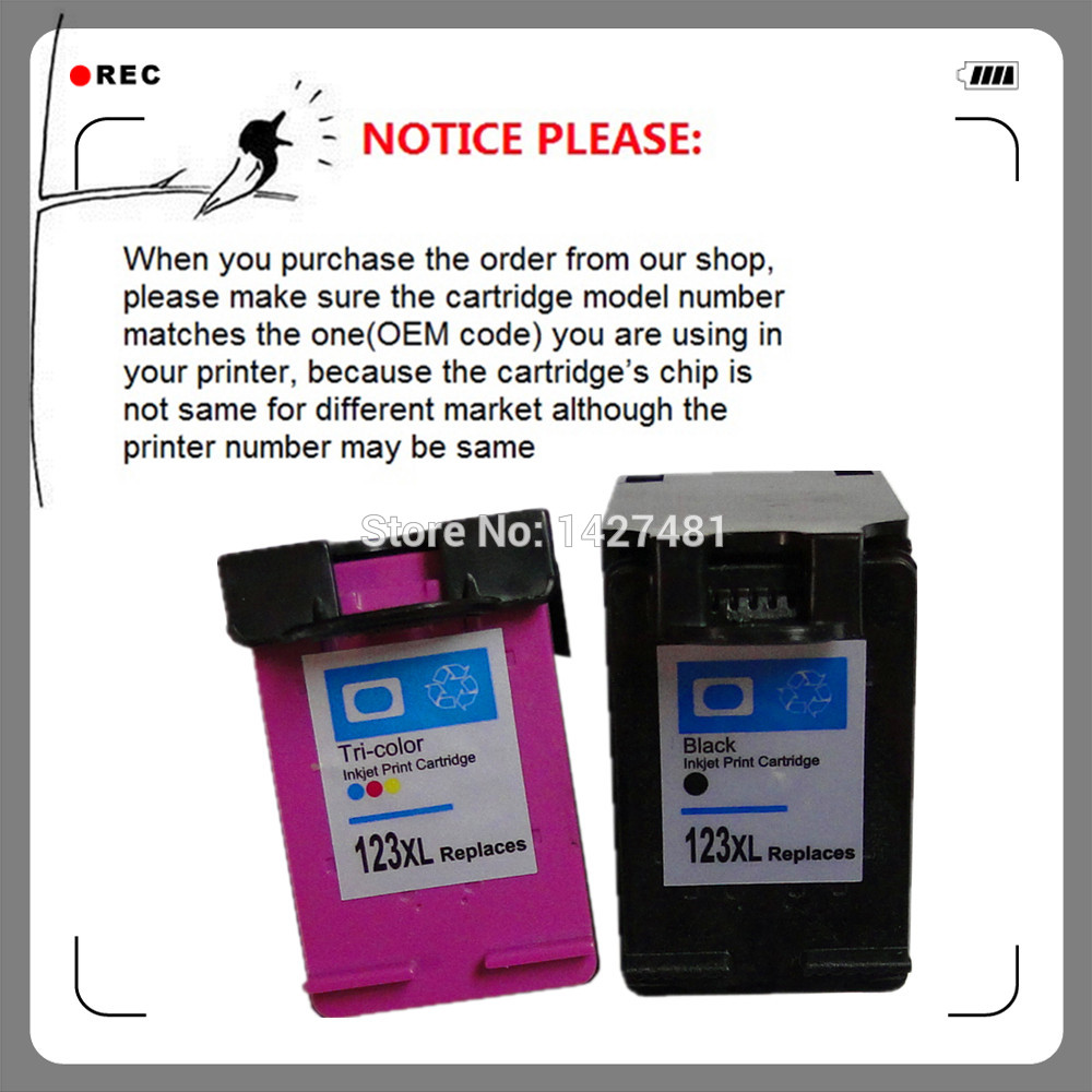 For HP123XL HP123 remanufactured ink cartridge for HP Deskjet 1110 1111 1112 2130 2132 2134 Officejet 3830 3831 3832 3834