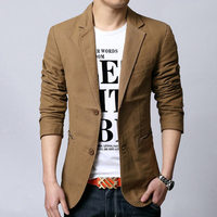 fashion khaki men's blazer solid color single breasted large mens blazer jacket high quality slim fit blazer hombre M 3XL