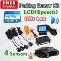 Retail Box 4 Sensors English Human Voice LCD Parking Sensor Kit Real Person Speech 22mm Car Reverse Radar System Free Shipping