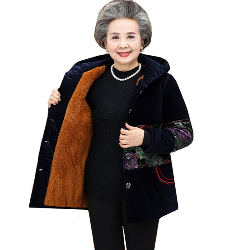 Corduroy Grandmother Cotton Jacket Plus Size 5XL Winter Middle-aged Warm Print Hooded Coat Casual Female Basic Jacket Tops A2136