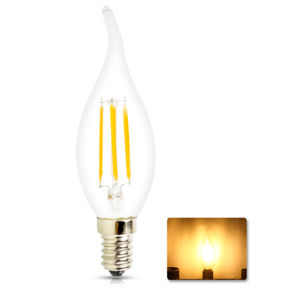New Design Energy Saving 4w 6w E14 Dimmable 220v Led Filament 220vled Candle Light Bulb 360 Degree Lamp
