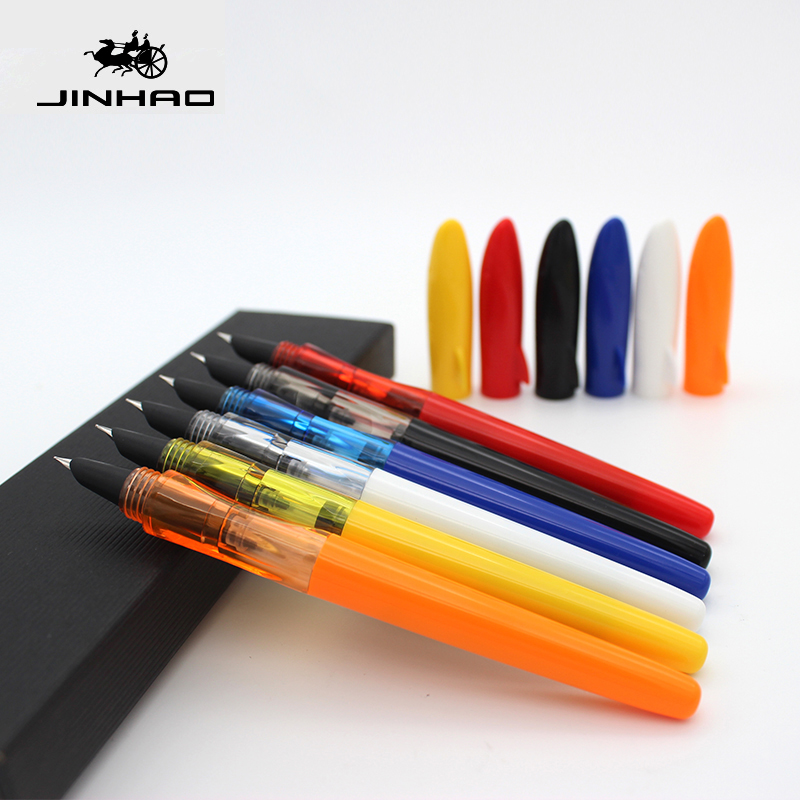 JINHAO SHAKR Series Plastic Fountain Pen 0.5/0.38mm Chil Student Practise Calligraphy Pens School Supplies 12 Colors For Choose