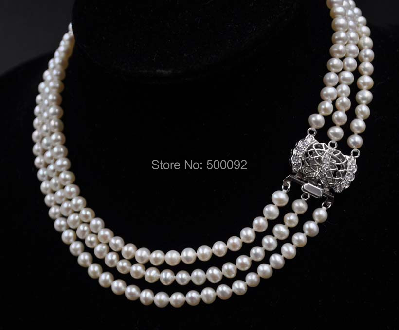 Fine Choker 15-17 3strands 5-6mm white freshwater pearl necklaceFine Choker 15-17 3strands 5-6mm white freshwater pearl necklace