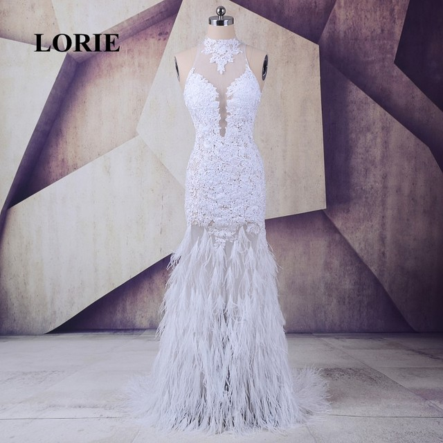 480f93176f4 LORIE mermaid prom dresses Long Ostrich Feather for Party White Tulle Lace  High Neck Backless Sexy Evening Party Gowns