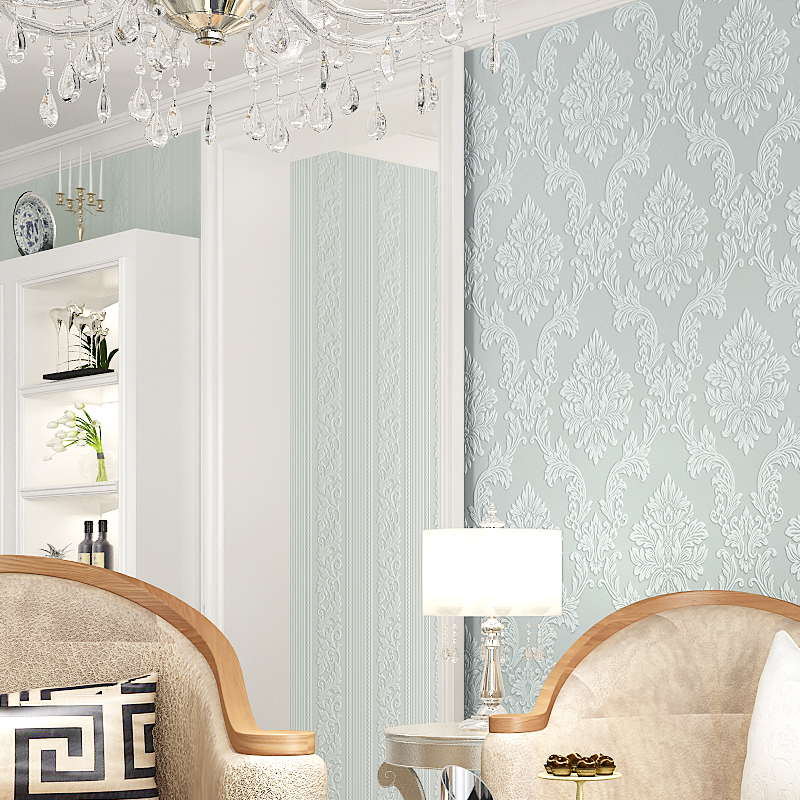 New Luxury 3D Damask Wallpaper Fabric Embossed Wall paper mural roll glitter beige blue gray home decor for bedroom D03
