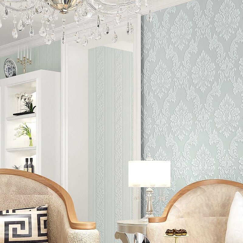 nuevo lujo d mural de tela en relieve papel pintado del damasco wall paper roll brillo beige azul gris decoracin para el dormi