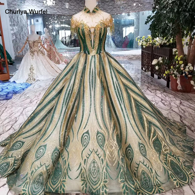 HTL101 Color Prom Dresses Brush Train Beaded High Neck Short Sleeves Green Lace Sweep Train Tassel Evening Dresses With Crystal