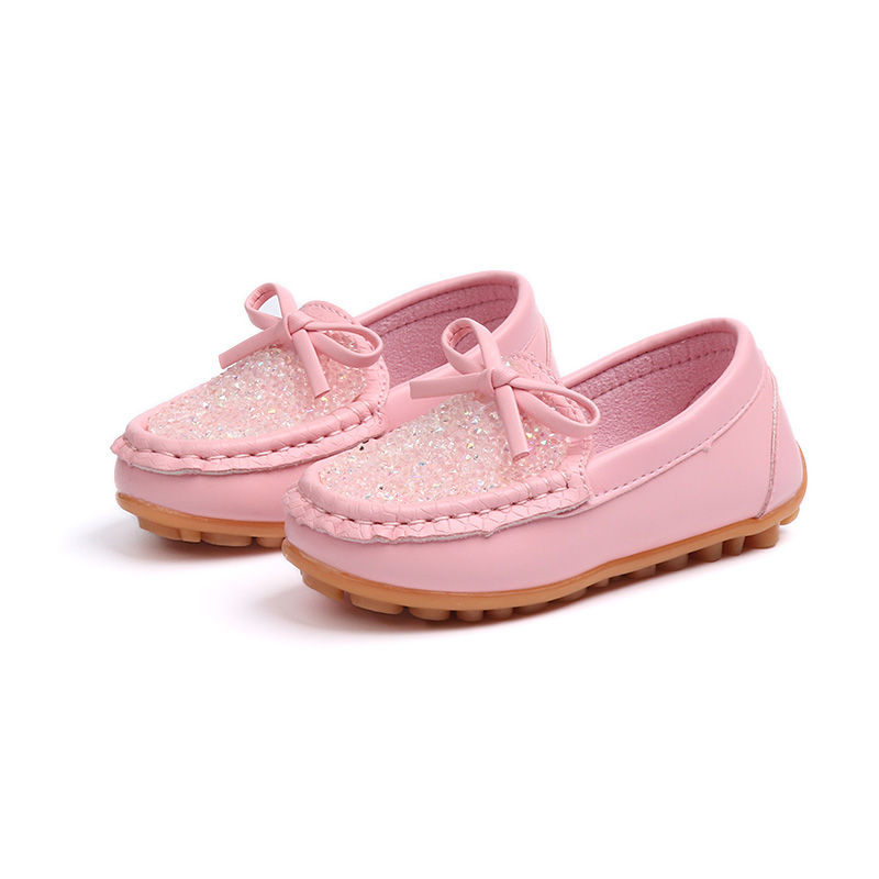 NANCY TINO New Childrens Single Shoes Flat Candy Bowknot Peas Girls Princess Baby