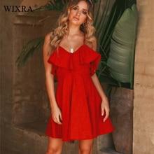 Wixra 2019 Summer New Hot Sweet Ruffles Dress Women's Spaghetti Strap Backless Lace up Short Dress Solid Mini Dresses