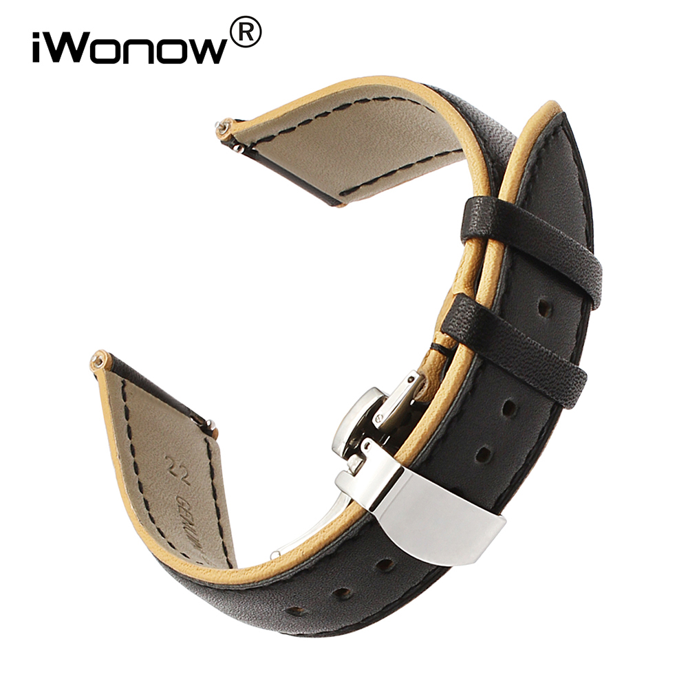 22mm France Genuine Calf Leather Watchband for Seiko Citizen Casio Hamilton Double Color Watch Band Quick Release Wrist Strap