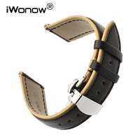 22mm France Genuine Calf Leather Watchband For Seiko Citizen Casio Hamilton Double Color Watch Band Quick