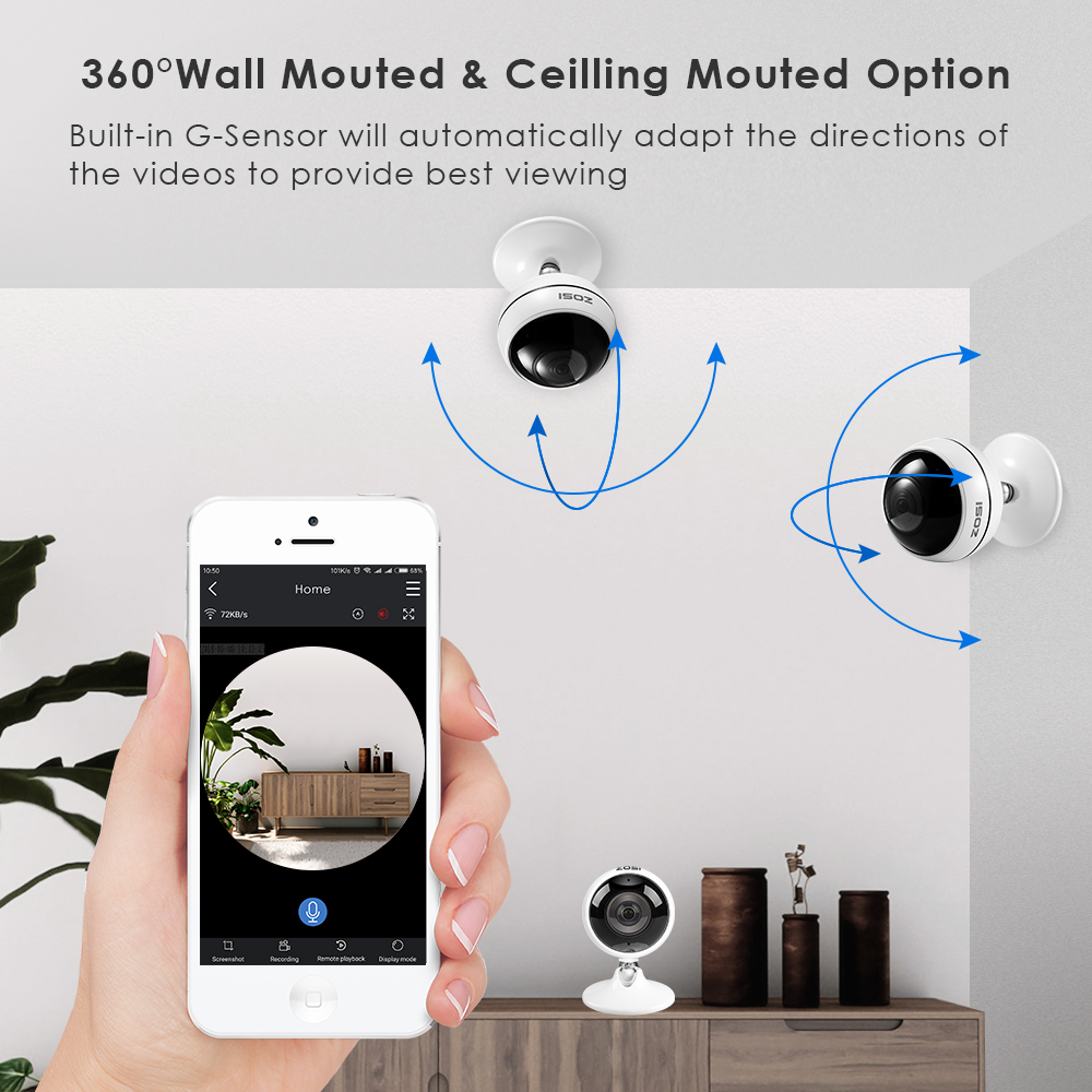 ZOSI Wireless IP Camera WiFi Panoramic Fisheye Video Surveillance Camera 3MP Ultra HD 360 Full Degree View Angel VR CCTV Camera