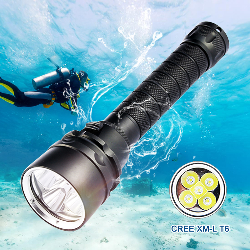 Scuba Dive Torch 5000 Lumens Diving For Flashlight Torch 5*T6  200M Underwater  Diving Tactical Led Flashlights Lantern Lamp
